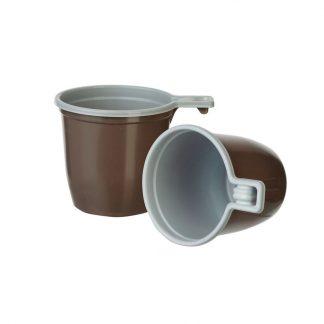 Чашка кофейная с ручкой 200 мл коричнево-белая