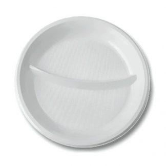 Тарелка D205 белая 2-х секционная 2207