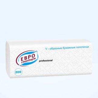 Бумажные листовые полотенца V-сложения «Евро стандарт» professional 1сл., 200л. белые