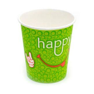 Стакан бумажный 250 мл 1 слой Happy Green Smile