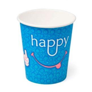 Стакан бумажный 250 мл 1 слой Happy Blue Smile
