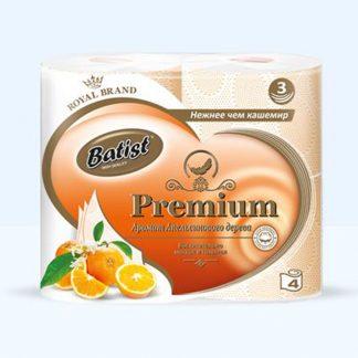 Туалетная бумага Batist 3-х сл. 4шт., аромат - Апельсинового дерева