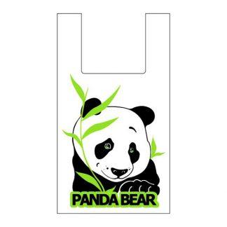 """Пакет-Майка """"Панда"""" 28+14*50 (14 мкм) белая"""