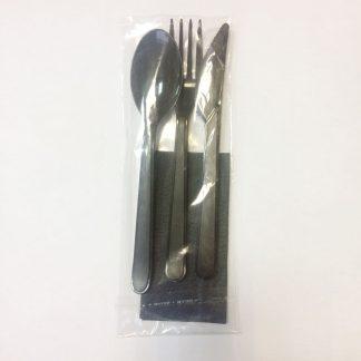 Комплект Премиум Черный: Ложка столовая+Вилка+Нож+Салфетка 24см в индивидуальной упаковке 4612