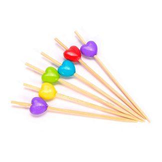 Пика «Сердечко» цветные бамбук 7см