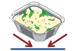 Устанавливайте алюминиевый контейнер по центры поворотной платформы в микроволновой печи.
