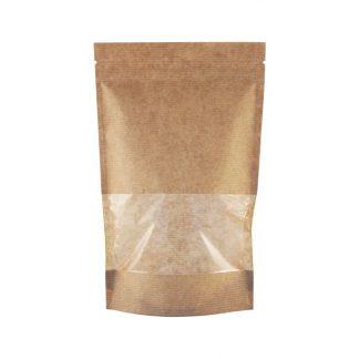 Пакет дой-пак бумажный с окном 70 мм