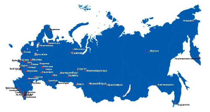 """Карта отгрузок по России """"НВ-Пластик"""""""
