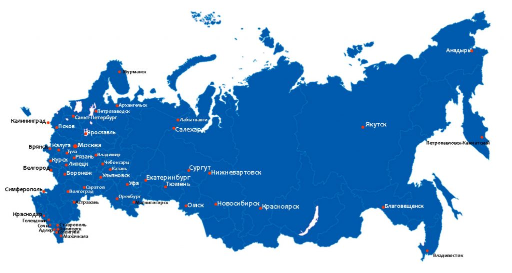 Карт а отгрузок по России
